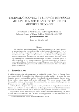 THERMAL GROOVING BY SURFACE DIFFUSION: MULLINS REVISITED AND EXTENDED TO MULTIPLE GROOVES