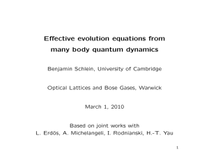 Effective evolution equations from many body quantum dynamics