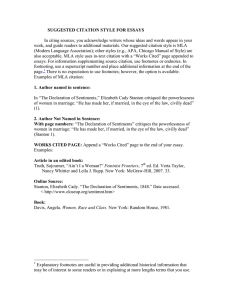 In citing sources, you acknowledge writers whose ideas and words... work, and guide readers to additional materials. Our suggested citation... SUGGESTED CITATION STYLE FOR ESSAYS