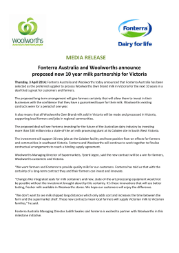 MEDIA RELEASE Fonterra Australia and Woolworths announce