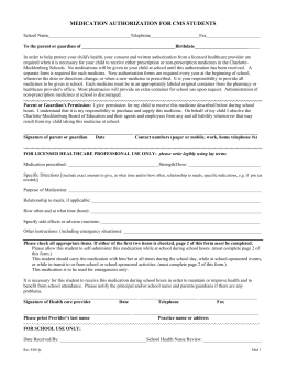 MEDICATION AUTHORIZATION FOR CMS STUDENTS