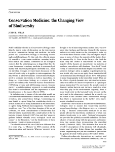 Conservation Medicine: the Changing View of Biodiversity Comments