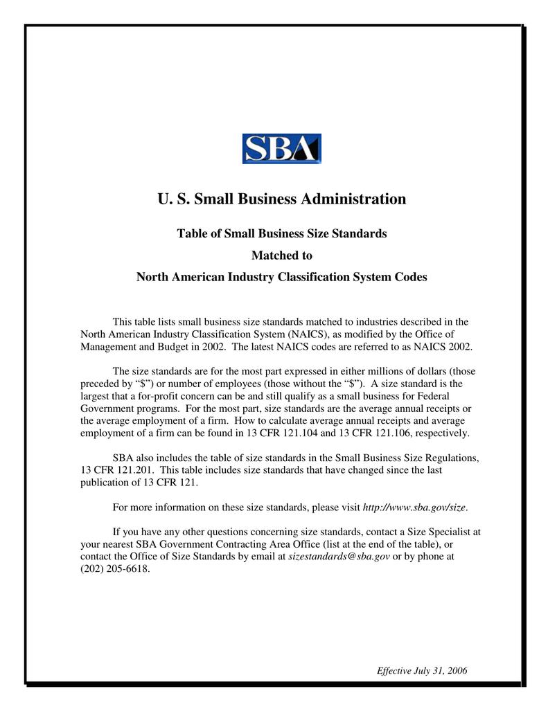 sba small business size standards - Siteze