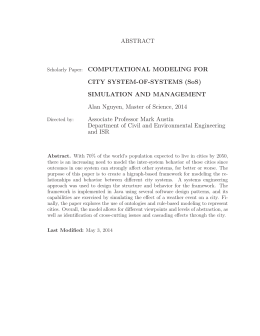 ABSTRACT COMPUTATIONAL MODELING FOR CITY SYSTEM-OF-SYSTEMS (SoS) SIMULATION AND MANAGEMENT