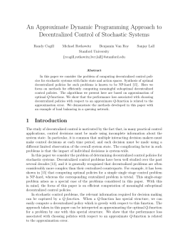 An Approximate Dynamic Programming Approach to Decentralized Control of Stochastic Systems