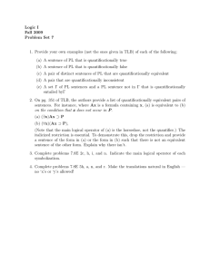 Logic  I Fall  2009 Problem  Set  7