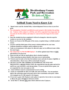 Softball Team Need to Know List