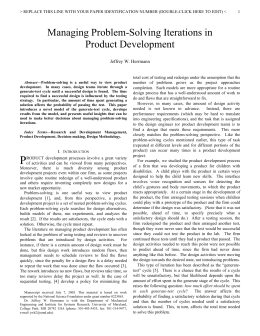 Managing Problem-Solving Iterations in Product Development Jeffrey W. Herrmann