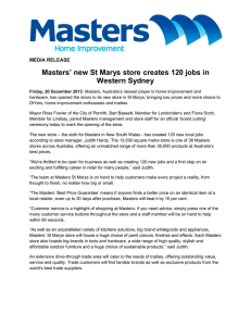 Masters' new St Marys store creates 120 jobs in Western Sydney