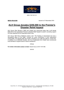 ALH Group donates $250,000 to the Premier's Disaster Relief Appeal