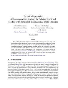 Technical Appendix: A Decomposition Strategy for Solving Empirical