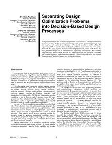 Separating Design Optimization Problems  Peyman Karimian