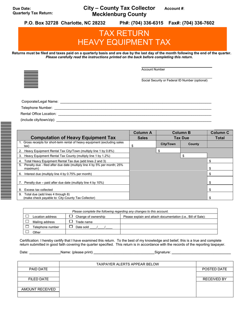 Charlotte Nc Sales Tax >> Tax Return Heavy Equipment Tax City County Tax Collector