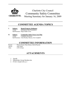 Community Safety Committee Charlotte City Council Meeting Summary for January 16, 2009