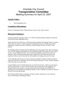 Transportation Committee Charlotte City Council Meeting Summary for April 23, 2007
