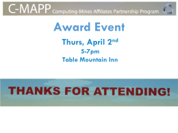 Award Event Thurs, April 2 5-7pm Table Mountain Inn