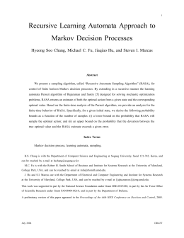 Recursive Learning Automata Approach to Markov Decision Processes