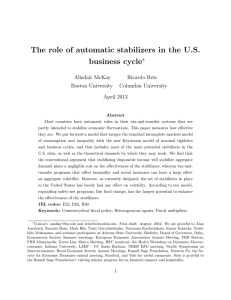 The role of automatic stabilizers in the U.S. business cycle ⇤ Alisdair McKay
