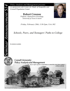 S14 Seminar Announcement Robert Crosnoe Schools, Peers, and Teenagers' Paths to College