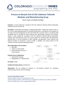 Process to Recycle End of Life Cadmium Telluride
