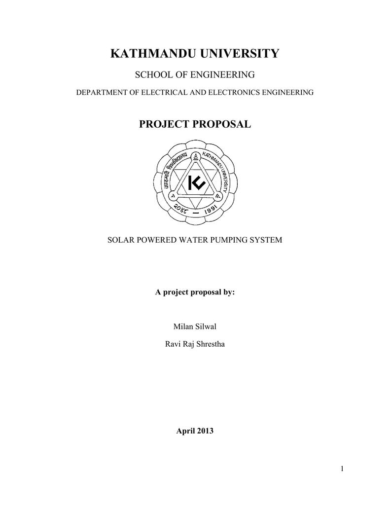 Kathmandu University Project Proposal School Of Engineering Electronics Projects April 2013