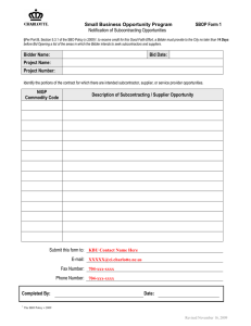 SBOP Form 1 Small Business Opportunity Program Notification of Subcontracting Opportunities