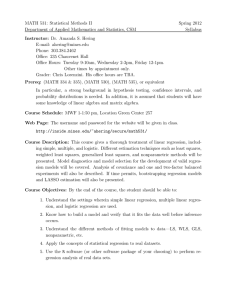 MATH 531: Statistical Methods II Spring 2012 Syllabus