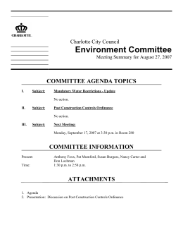 Environment Committee COMMITTEE AGENDA TOPICS Charlotte City Council