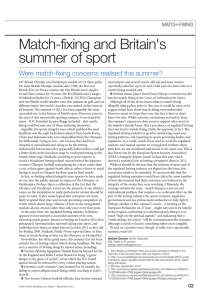 Match-fixing and Britain's summer of sport Were match-fixing concerns realised this summer? MATCH-FIXING