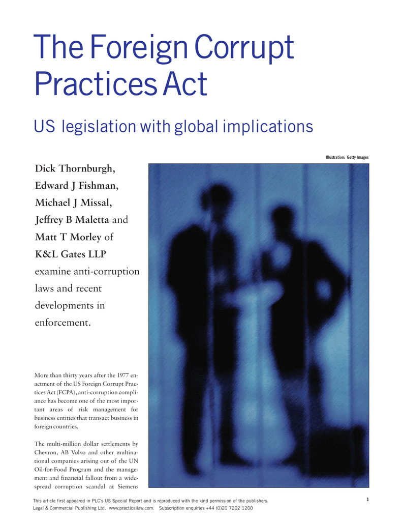 The Foreign Corrupt Practices Act Us Legislation With Global
