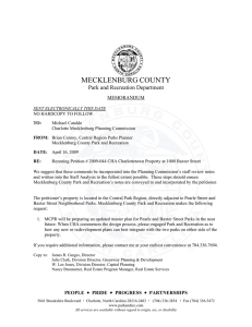 MECKLENBURG COUNTY Park and Recreation Department  MEMORANDUM