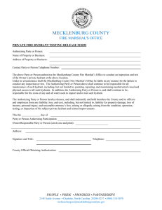 MECKLENBURG COUNTY  FIRE MARSHAL'S OFFICE PRIVATE FIRE HYDRANT TESTING RELEASE FORM