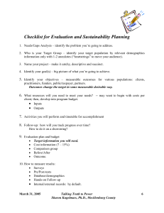 Checklist for Evaluation and Sustainability Planning