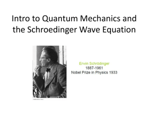Intro to Quantum Mechanics and the Schroedinger Wave Equation