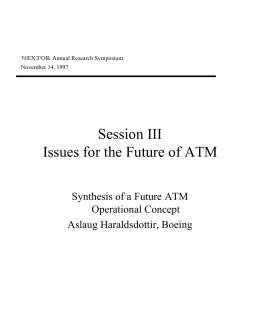 Session III Issues for the Future of ATM Operational Concept