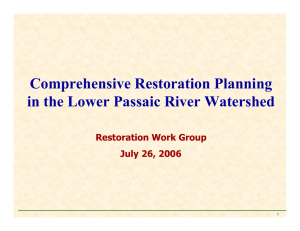 Comprehensive Restoration Planning in the Lower Passaic River Watershed Restoration Work Group