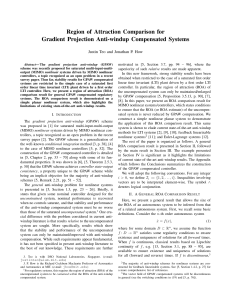 Region of Attraction Comparison for Gradient Projection Anti-windup Compensated Systems