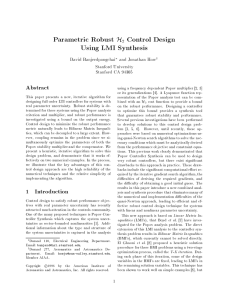 Parametric Robust Control Design Using LMI Synthesis Abstract
