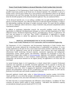 Tenure Track Faculty Position in Advanced Materials at North Carolina...