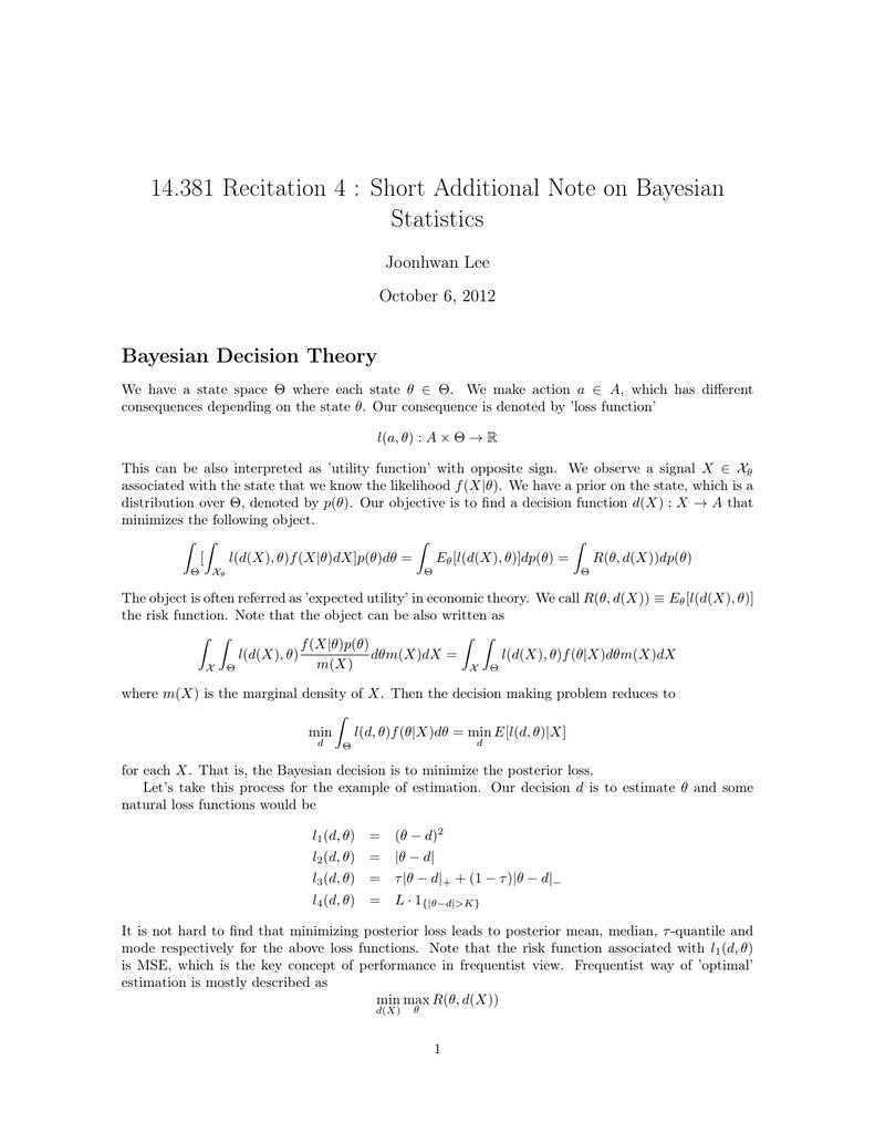 14 381 Recitation 4 : Short Additional Note on Bayesian Statistics