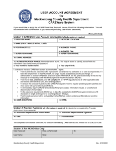 USER ACCOUNT AGREEMENT for Mecklenburg County Health Department CAREWare System