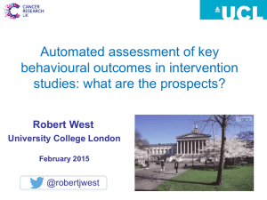 Automated assessment of key behavioural outcomes in intervention
