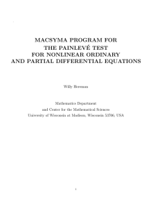 MACSYMA PROGRAM FOR THE PAINLEV´ E TEST FOR NONLINEAR ORDINARY
