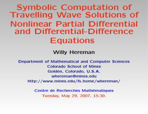 Symbolic Computation of Travelling Wave Solutions of Nonlinear Partial Differential and Differential-Difference