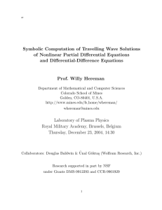 Symbolic Computation of Travelling Wave Solutions of Nonlinear Partial Differential Equations
