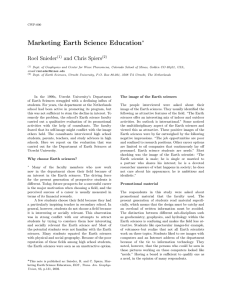 Marketing Earth Science Education Roel Snieder and Chris Spiers ∗