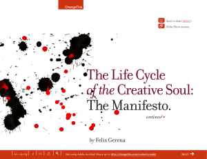 The Manifesto. The Life Cycle of the