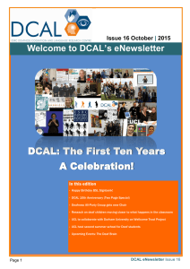 DCAL: The First Ten Years A Celebration! Welcome to DCAL's eNewsletter