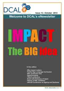 Welcome to DCAL's eNewsletter  Issue 13 October  2013