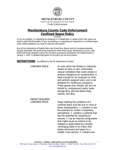 Mecklenburg County Code Enforcement Confined Space Policy MECKLENBURG COUNTY Code Enforcement
